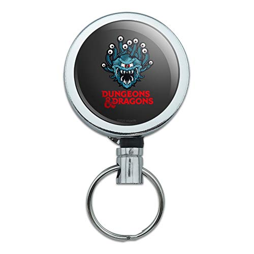Dungeons & Dragons Beholder Heavy Duty Metal Retractable Reel ID Badge Key Card Tag Holder with Belt Clip