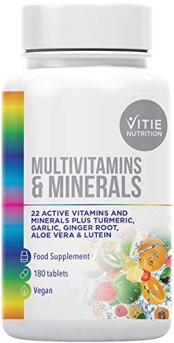 Vitie Nutrition Multivitamin Tablets for Women and Men – 180 Vegan Tablets Multivitamins for Adults – Rich in Minerals – Energy Boost Food Supplement, Made in The UK