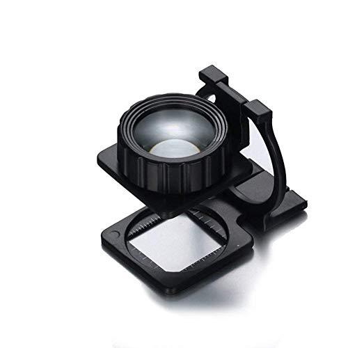 HUOQILIN Mini-Tasche Glas mit Skala Desktop-Freisprech-Einschlaglupe 10X HD Objektiv Loupe for Skala Mess Bezeichnung Wenwan Schmuck Münzen Identification XUAGMT