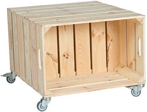 Kistenkolli Altes Land 2er Obstkistentisch Elfriede mit Rollen Maße 60 x 54 x 42cm Couchtisch Abstelltisch Couch Tisch Weinkiste Holzkiste Regal Obstkiste Regaltisch Wohnzimmertisch (Natur)