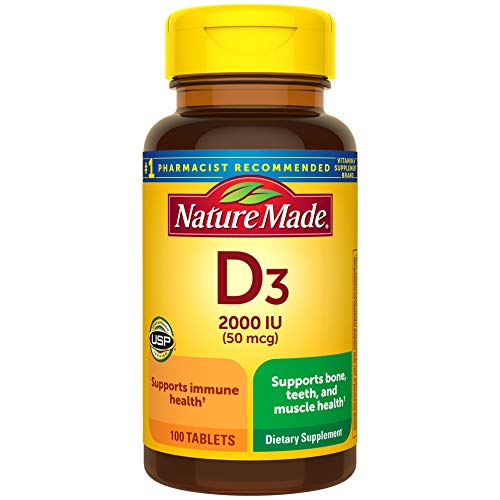 Vitamin D3 100 Tablets Vitamin D 2000 IU 50 mcg Helps Support Immune Health Strong Bones and Teeth amp Muscle Function 250% of the Daily Value for Vitamin D in Only One Daily Tablet