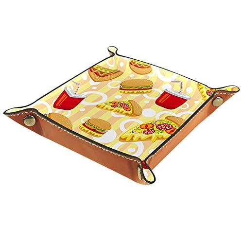 Plateau en cuir,vide-poche,plateau valet,organisateur de plateau,texture dessin animé lumineux de fast-food ,pour Commode Bureau Salon Table