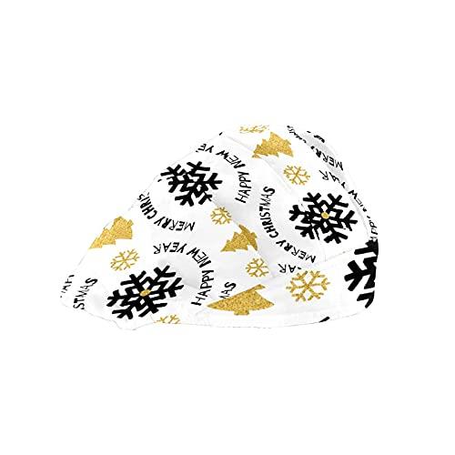Gorra de mujer para cabello largo con banda elástica ajustable para el sudor Gorras de trabajo para hombres bufanda de cabeza impresa 3D sombreros negros de dibujo copos de nieve