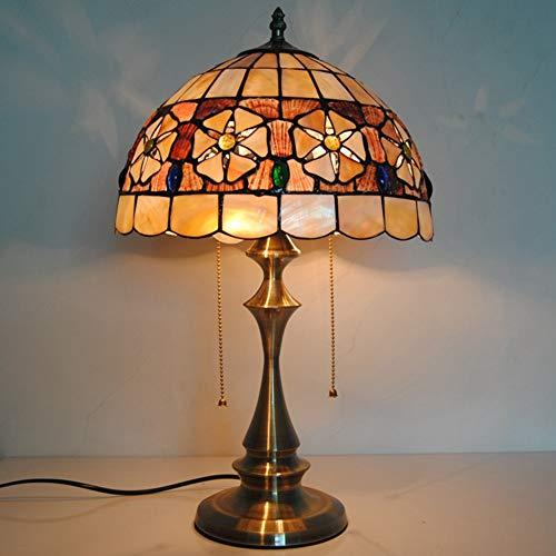 12-Zoll-Tiffany-Stil Tischlampe, Muscheln Design Glasmalerei Kunst Lampenschirm, 2- Lichter Zugkette Antik Nachtlicht mit Kupferbasis, Schlafzimmer Nachttischlampe/Nachtlicht