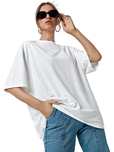 DIDK Camiseta de manga corta para mujer, estilo informal, cuello redondo, monocolor. Blanco S