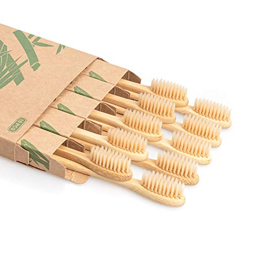 Daletu Bamboo Toothbrush, 10 PCS Biodegradable Wooden Toothbrushes, Natural BPA Free Soft Bristles Wood Toothbrush, Eco Friendly, Compostable and Sustainable