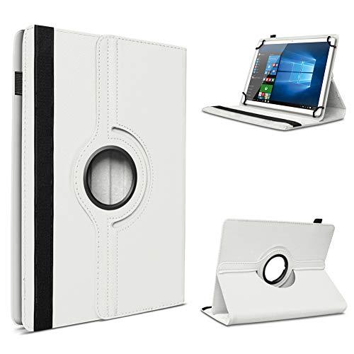 UC-Express Tablet Schutzhülle für 10-10.1 Zoll Tasche aus hochwertigem Kunstleder Hülle Standfunktion 360° Drehbar Universal Hülle Cover, Farben:Weiß, Tablet Modell für:ODYS Neo Quad 10