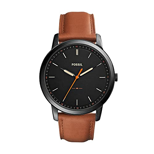 Fossil Men's The Minimalist Quartz Stainless Steel and Leather Three-Hand Watch, Color: Black, Luggage (Model: FS5305)