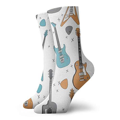 Socken damen 39-42 Gitarren E-Gitarre Gitarrenmusik Stoffgewebe Jungen Rock Band Stoff Trendy Music Stoffdruck von Andrea Lauren_839,100prozent Baumwolle Rutschfest für Herren Damen one size.