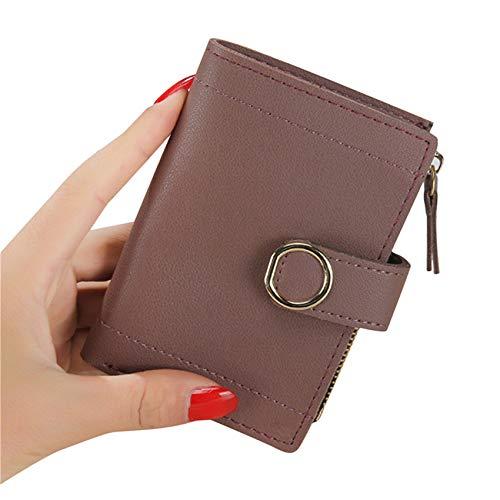 ZSDFW - Monedero corto para mujer, monedero, monedero, monedero, monedero para tarjetas de crédito, dinero en efectivo, llaves, regalo de Acción de Gracias, color marrón