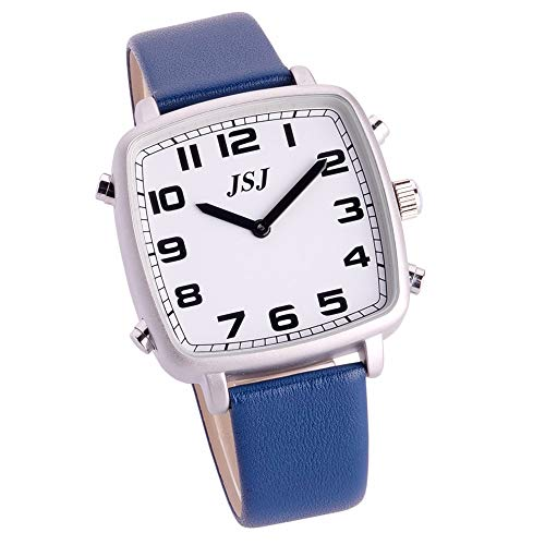 Reloj Parlante en Español, Reloj de Pulsera Cuadrado,Esfera Blanco, Azul Correa de Cuero TSSW-1805S