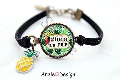 Bracelet Maîtresse, cadeau maîtresse, Merci Maîtresse, tropical été, Maîtresse au TOP, ananas, cabochon fleurs