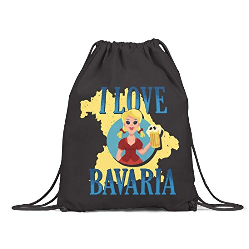 BLAK TEE I Love Bavaria Organic Cotton Drawstring Gym Bag Black