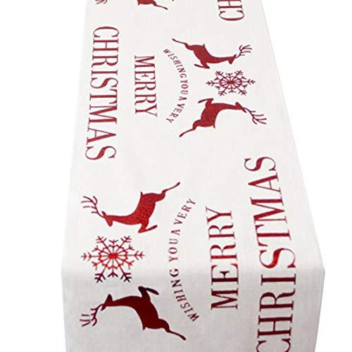Hawiton Weihnachten Tischläufer Stickerei Tischdecke Abendessen Desktop Küche Raumdekor Tischset Christmas Tischdekoration 28 * 270cm
