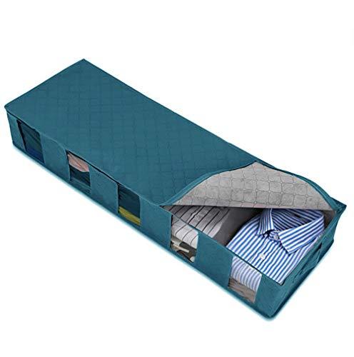 SOLE HOME Bolsa organizadora de ropa debajo de la cama, gran caja de almacenamiento ajustable, tela no tejida a prueba de polvo, a prueba de humedad, 4 ventanas transparente, para ropa/colcha/almohada