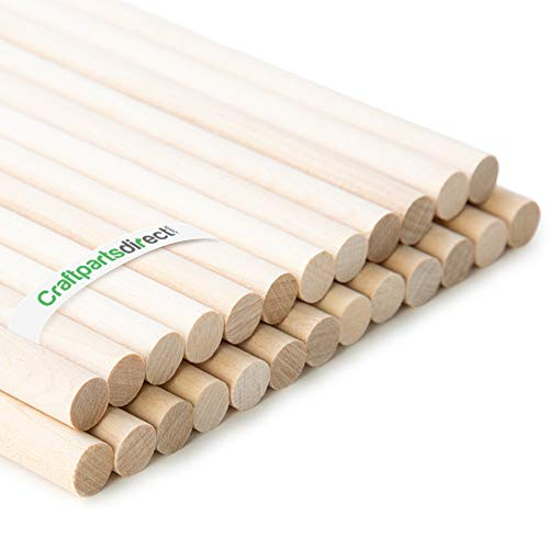"Wooden Dowel Rods - 3/8"" x 36"" Unfinished Hardwood Sticks - For Crafts and DIY'ers - Craftparts Direct - Bag of 25"