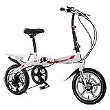 DQWGSS Bicicleta Plegable de Carretera para Adultos con Frenos de Seguridad y amortiguadores de Velocidad Variable Asiento Ajustable y Manillar Bicicleta de Ciudad Plegable,White and Red,Style 2