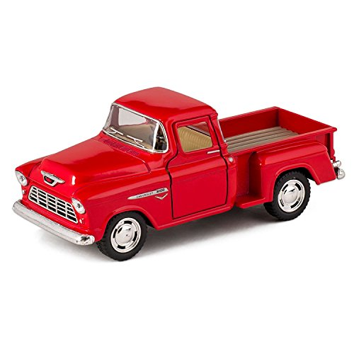 Kinsmart Orange 1955 Chevy Stepside Pick-Up Die Cast Collectible Toy Truck
