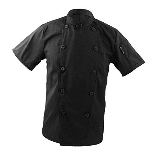Perfeclan Kochjacke Bäckerjacke Jacke kurzarm aus weichem Polyester, Koch Jacke Mantel Oberteil Kochkleidung mit Druckknöpfen - Schwarz, 3XL
