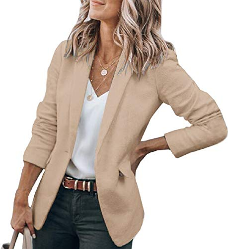 Cicy Bell Womens Casual Blazers Open Front Long Sleeve Work Office Jackets Blazer (Z-Khaki, X-Large)