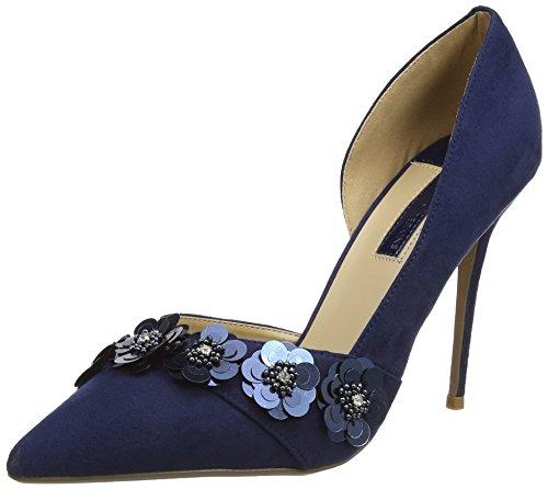 Dorothy Perkins Navy Ginna Flower Court, Talons à Bout fermé. Femme, Bleu Marine, 38 EU