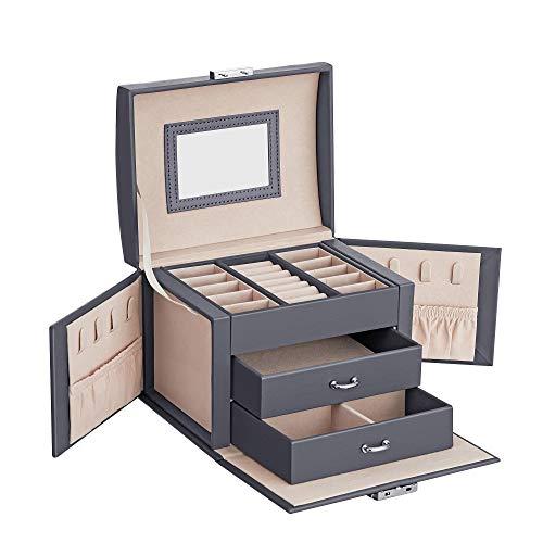 SONGMICS Schmuckschatulle, Reise-Schmucketui, tragbar, abschließbares Schmuckkästchen, mit 2 Schubladen, Spiegel, Schloss und Schlüssel, Geschenkidee, grau JBC154G01