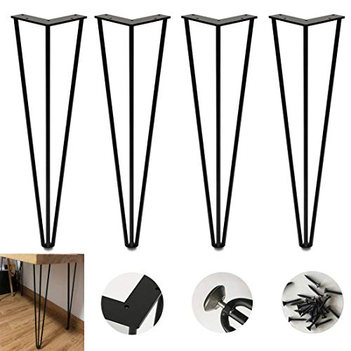 Furniture Legs,4 Hairpin Table Legs Heavy Duty Metal Furniture Legs,3 Rod Industrial Style Coffee Table Leg,10Mm Steel,For Laptop Table Office Desk Dining Table Tv Stand Cabinet,With Protector Feet