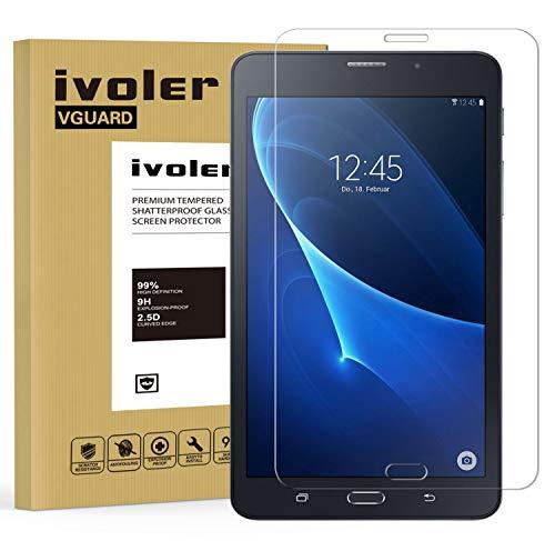 ivoler Kompatibel für Panzerglas Schutzfolie Samsung Galaxy Tab A 7.0 Zoll 2016 (SM-T280N / T285N), 9H Festigkeit, Anti- Kratzer, Bläschenfrei, 2.5D R&e Kante