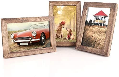 Emfogo Picture Frames Photo Display for Tabletop or Wall Mount Solid Wood High Definition Glass product image