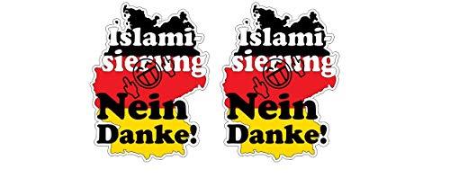 Deutschland Germany Anti Islamierung Flüchtlinge Einwanderung Aufkleber Sticker / Plus Schlüsselringanhänger Kokosnuss-Schale / Auto Motorrad Laptop Mittelfinger Anti-Einwanderung AfD Anti Merkel