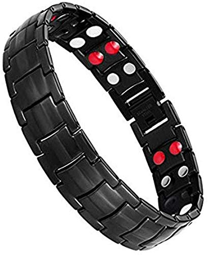 Magnetic Bracelets for Men Double Strength Magnets Therapy Wristband for Arthritis and Carpal Pain Relief Magnetic Therapy Bracelets with Free Links Removal