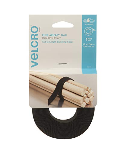 """VELCRO Brand - ONE-WRAP Roll, Double-Sided, Self Gripping Multi-Purpose Hook and Loop Tape, Reusable, 12' x 3/4"""" Roll - Black"""