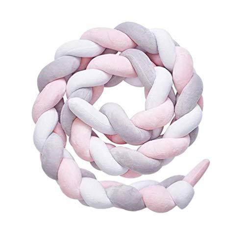 Bettumrandung, DQMEN Baby Nestchen Bettschlange Babybett Stoßstange Weben Kantenschutz Kopfschutz Dekoration für Krippe Kinderbett (Weiß + Rosa + Grau, 200cm)