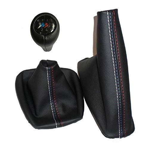 Pomo de palanca de cambio manual de 5 velocidades y 6 velocidades con funda de cuero auténtico para freno de mano, ajuste para BMW Serie 3 E36 E46 M3 (cuero real 6S M)