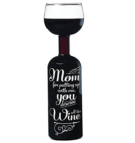 BigMouth Inc. Original Wine Bottle Glass -' Mom, for putting up with me, you deserve all the Wine', Large Wine Glass, 750 mL