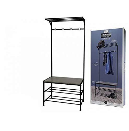 Perchero de 4 plazas con banco, asiento y estructura de metal, zapatero para zapatos, 76 x 35 x 178 cm
