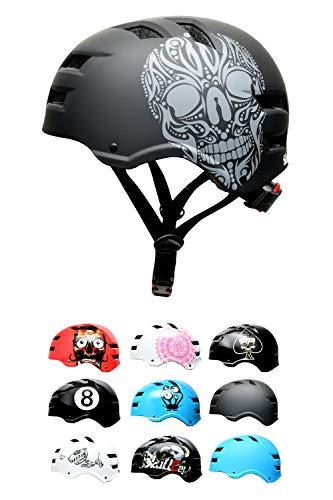 Skullcap® BMX & Skaterhelm - Fahrradhelm - Herren Damen Jungs & Kinderhelm, schwarz, Gr. L (58-61 cm), Skull