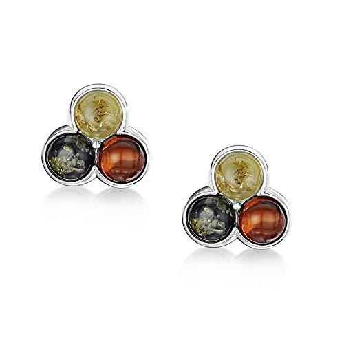 Amberta Joyas - Pendientes de Fina Plata de Primera Ley 925 - Pendientes de Botón con Ambar Multicolor