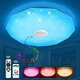 JDONG Lámpara de techo led con mando a distancia y altavoz Bluetooth 24W luz ambiental RGB, intensidad regulable), color blanco cálido