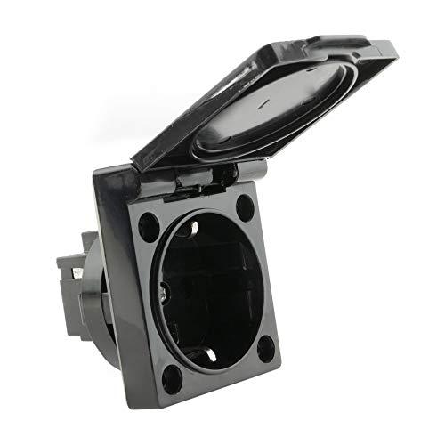 BeMatik - Base de enchufe schuko empotrable IP44 a tornillo con tapa de color negro (ME072)