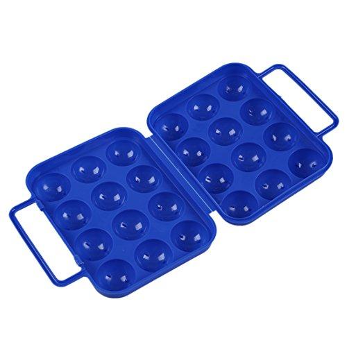 SODIAL(R) Boite de transport porte-oeufs plastique pliable bleu (pour 12 oeufs) pour recipient de pique-nique