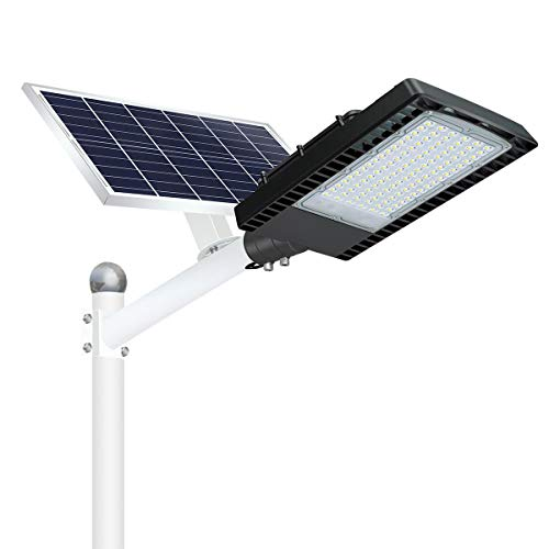 SOLLA 300W Solar Street Lights Outdoor, Dusk to Dawn Security Lights with Remote Control, Wireless, IP66 Waterproof, 6000K, LED Solar Flood Light for Road, Yard, Parking lot, Street, Garden and Garage