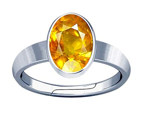 Divya Shakti 6.25-6.50 Carat Yellow Sapphire/Pukhraj Gemstone Silver Adjustable Plain Design Ring for Mens & Womens