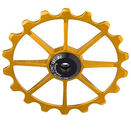 Surebuy Polea de de Bicicleta con cojinete de cerámica, Rueda de polea de Trasera de aleación de Aluminio 18T Resistente y Liviana para 2 Piezas de Accesorios(Oro)