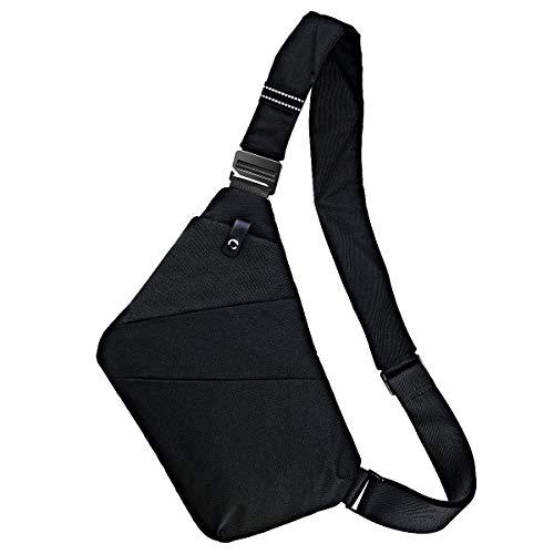 Ceephouge Sling Bag Crossbody Backpack Chest Shoulder Bag Waterproof Sling Backpack for Men Women (Black)