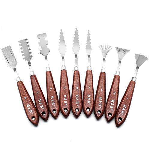HUYU - Espátula de acero inoxidable para pintar y mezclar con mango de madera resistente, accesorios para pintura al óleo 9 PCS Palette knives