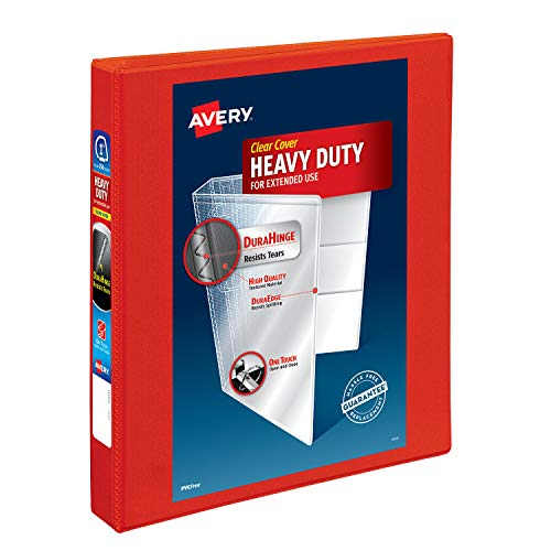 Avery Heavy Duty View 3 Ring Binder, 1 One Touch EZD Ring, Holds 8.5 x 11 Paper, 1 Red Binder (79170)