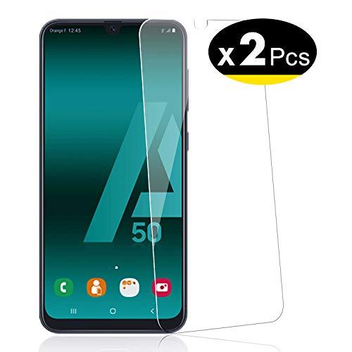 NEW'C 2 Pezzi, Vetro Temperato per Samsung Galaxy A50 (SM-A505F), Pellicola Prottetiva Anti Graffio, Anti-Impronte, Senza Bolle, Durezza 9H, 0,33mm Ultra Trasparente, Ultra Resistente