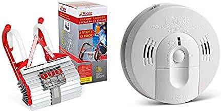Kidde 468193 KL-2S Two-Story Fire Escape Ladder with Anti-Slip Rungs, 13-Foot & 21026043 Battery-Operated(Not Hardwired) Combination Smoke/Carbon Monoxide Alarm with Voice Warning KN-COSM-BA