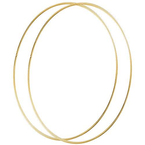 Sntieecr 4 unidades de 30 cm de largo metal floral corona de aros de macramé oro anillos de aro para hacer decoración de corona de boda y bricolaje atrapasueños para colgar en la pared manualidades